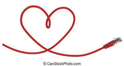 heart., réseau, câble, tordu, rendre, forme, 3d