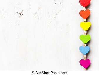 heart rainbow of colors on a white background