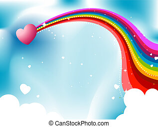 Heart Rainbow Trail in the Skies Design