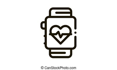 Heart Rate Counter Icon Animation. black Heart Rate Counter animated icon on white background