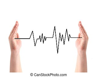 Heart Rate - A heart rate line between two hands