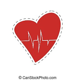 heart rate health cardiology symbol cut line
