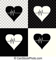 Heart rate icon isolated on black, white and transparent background. Heartbeat sign. Heart pulse icon. Cardiogram icon. Vector Illustration