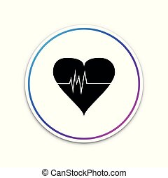 Heart rate icon isolated on white background. Heartbeat sign. Heart pulse icon. Cardiogram icon. Circle white button. Vector Illustration