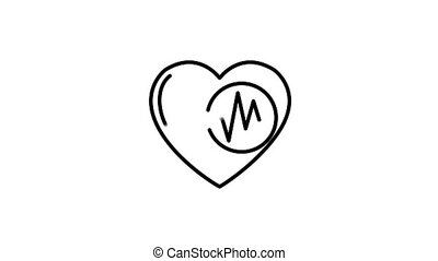 Heart Rate line icon is one of the Sport Lifestyle icon set. File contains alpha channel. From 2 to 6 seconds - loop.