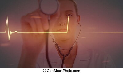 Animation of orange heart rate over female Caucasian nurse using a stethoscope, looking in the camera. Global medicine healthcare concept digital composite.