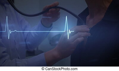 Animation of blue heart rate over a woman getting her lungs checked by a male doctor at the hospital. Global medicine healthcare concept digital composite.