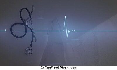Animation of blue heart rate over black stethoscope lying on a white table at the hospital. Global medicine healthcare concept digital composite.