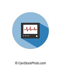 Heart rate monitor color icon with shadow on a blue circle. Heartbeat