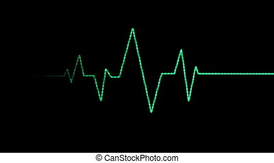 Heart Rate Monitor, Pixelated Blips - An animated loop of a...