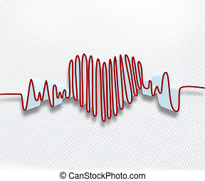 Heart rate waveform - Red heart rate waveform on white graph...