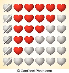 Heart rating elements. Zero to Five hearts.