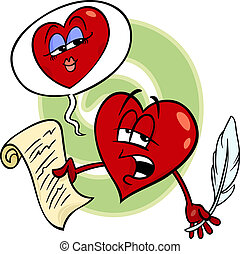 heart reading love poem cartoon - Cartoon Illustration of...