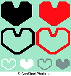 Heart red black white colour.