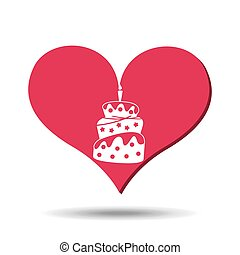 heart red cartoon cake candle icon design