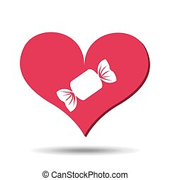 heart red cartoon candy icon design