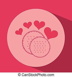 heart red cartoon cookie icon design