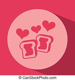 heart red cartoon cookie jam icon design