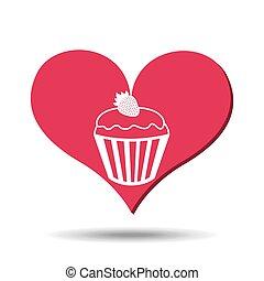heart red cartoon cupcake strawberry icon design
