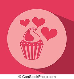 heart red cartoon cupckae chips icon design
