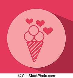 heart red cartoon ice cream icon design
