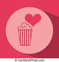 heart red cartoon pop corn icon design