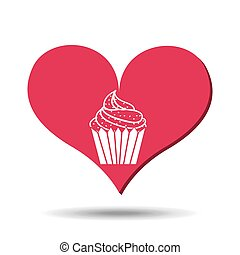 heart red cartoon silhouette cupcake icon design