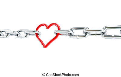 Heart red chain.3d Illustrations on a white background
