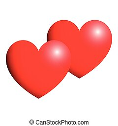 Heart red color two items