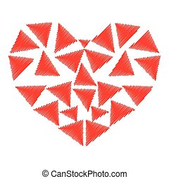 Heart red color with parts