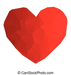 Heart red color with triangulation