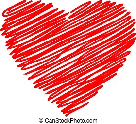 Heart red hand drawn sketch vector