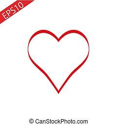 Heart Red Icon line Vector , Love Symbol Valentine s Day