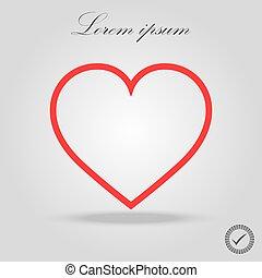 Heart Red Icon line Vector, Love Symbol Valentine s Day