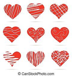 heart red set art illustration