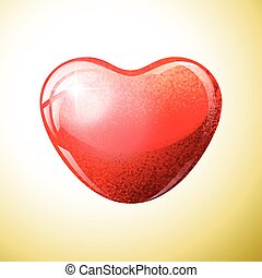 Heart red shape on colorful background.