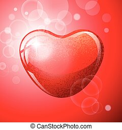 Heart red shape on red background.