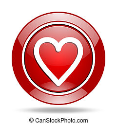 heart red web glossy round icon