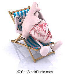 heart relaxes in a beach chair