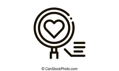 heart research Icon Animation. black heart research animated icon on white background