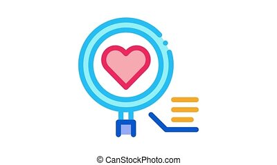 heart research Icon Animation. color heart research animated icon on white background