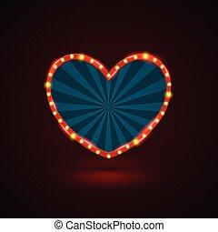 Heart retro light banner