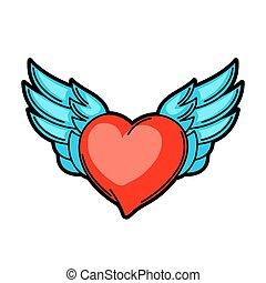 Heart retro tattoo symbol. Cartoon old school illustration