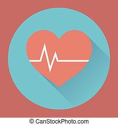 Heart rhythm and cardiogram. medical flat icon
