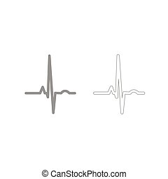 Heart rhythm ekg grey set icon . - Heart rhythm ekg it is...
