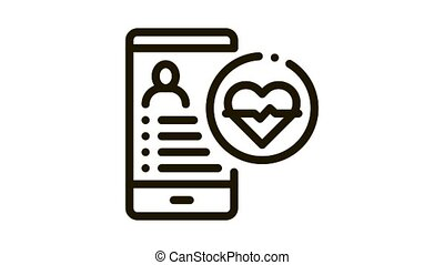 Heart Rhythm Icon Animation. black Heart Rhythm animated icon on white background
