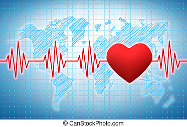 Heart rhythm on a blue medical background