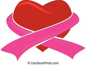 Heart Ribbon Logo Design Template Vector