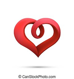 Heart ribbon sign 3d logo red icon art