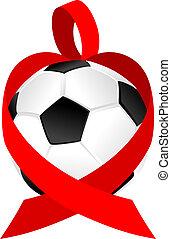 Heart Ribbon Soccer Ball or Football